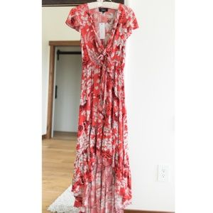 VICI Floral High Low Tie Maxi Dress NWT